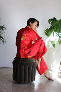 1920s Red Silk Chinese Embroidered Pajama Set 3031848ed
