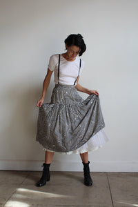 1980s Silk Spiral Print Suspender Skirt with Attached Petticoat