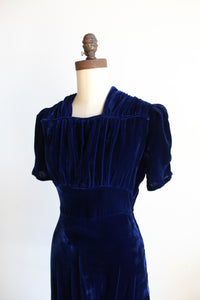 1940s Royal Blue Silk Velvet Midi Dress with Ruched Shoulders