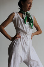 Load image into Gallery viewer, Edwardian White Cotton Romper with Eyelet Trim + Mint Green Ribbon Detail