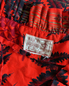 1940s Hawaiian Red Cotton Ruffle Dress by Waikiki Sports
