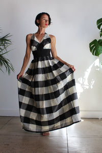 1950s-60s Black & White Plaid Taffeta Halter Gown