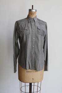1950s Silver Western Pearl Snap Button Up