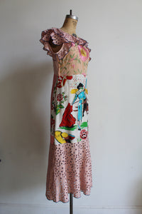 1930s Style Old Mexico Pink Mixed Fabric Scarf Dress
