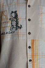 Load image into Gallery viewer, Monday Kitty Gold King Rice Sack Button Up