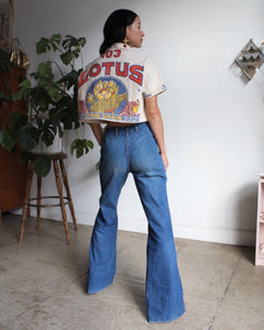 Rare 1970s Dark  Wash High Waisted Bell Bottom Jeans