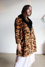 Load image into Gallery viewer, 1960s Tiger Print Faux Fur Coat with Black Vinyl Trim