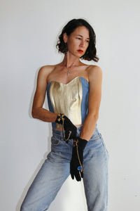 1980s Denim + Gold Bustier Crop Top