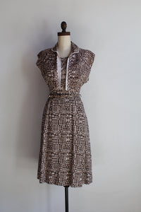 1940s Cotton Brown Hued Triangle Print Dress + Bolero Jacket + Belt