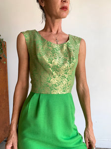 1960s Kelly Green Wool Gold Brocade Cocktail Dress