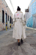 Load image into Gallery viewer, Blue Rose Rice Sack Patchwork Trench Coat