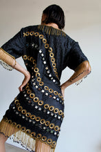 Load image into Gallery viewer, 80s Black Silk Gold Sequin Mirrored Fringe Beaded Fringe Dress