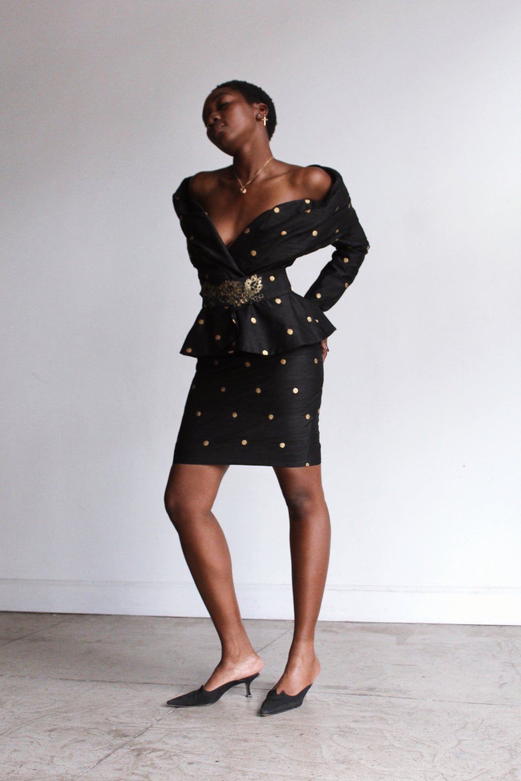 1980s Black Raw Silk Polka Dot 3 Piece Set