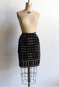90s Black Silk Mud Cloth Print Wrap Skirt