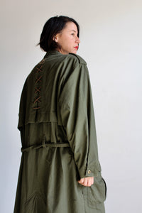 1980s Army Green Cotton Trench Coat with Lace Up Back