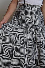Load image into Gallery viewer, 1980s Silk Spiral Print Suspender Skirt with Attached Petticoat