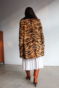1960s Tiger Print Faux Fur Coat with Black Vinyl Trim