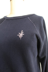 1960s Navy Blue Raglan Sweater with Pink Pot Leaf Chainstitch Embroidery