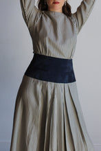Load image into Gallery viewer, 1980s Navy Blue Striped Silk Dress with Suede Pocketed Waistband