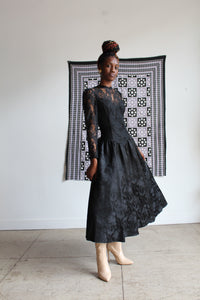1980s Romantic Gothic Lace Brocade Gown