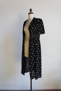 1940s Black Rayon Crepe Button Print Dress