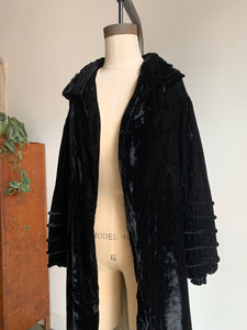 1930s Black Silk Velvet Opera Coat
