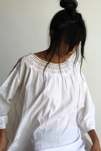 Load image into Gallery viewer, Antique White Cotton Tent Dress with Crochet Lace Neckline