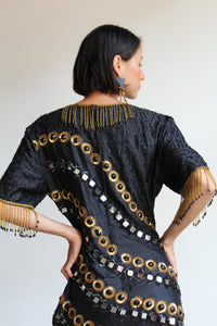 80s Black Silk Gold Sequin Mirrored Fringe Beaded Fringe Dress