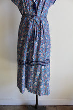 Load image into Gallery viewer, 1940s Blue Floral Cotton Feedsack Eyelit Bib Dress