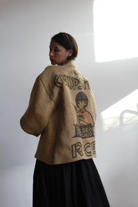 Vintage Burlap Rice Sack Jacket with Pink Silk Lining