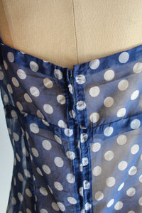 1960s Navy Blue Sheer Polka Dot Ruffle Hem Dressing