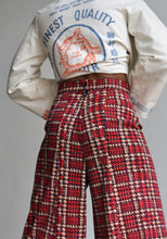 Load image into Gallery viewer, 1970s High Waist Houndstooth Knit Wide Leg Trousers