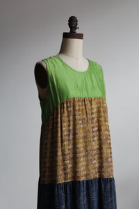 1980s Silk Multi-Patterned Colorblock Tiered Tent Dress