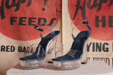Load image into Gallery viewer, 1990s Plastic Platform Shoes with Denim Trim by Two Lips