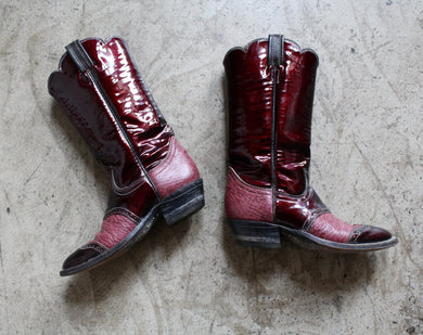 Tony Lama Burgundy Patent Leather Cowgirl Boots