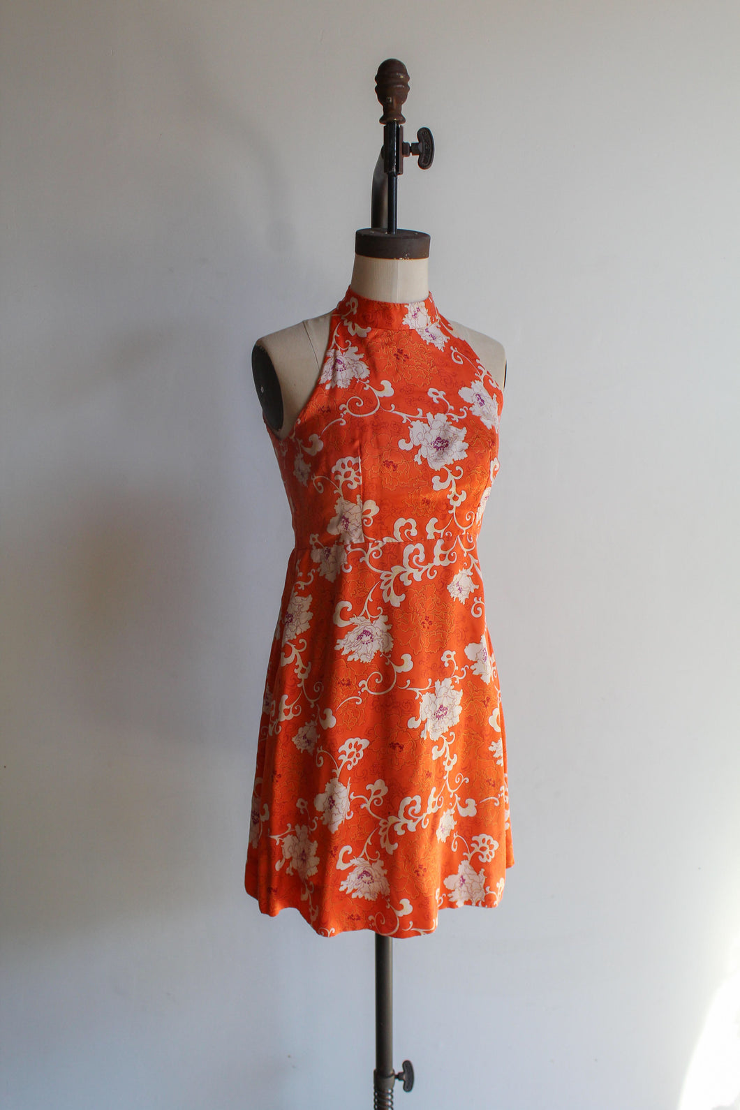 1970s Orange Silk Chrysanthemums Print Empire Waist Halter Mini Dress