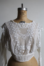 Load image into Gallery viewer, Edwardian White Gauze Lace Cropped Blouse