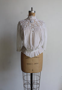 Victorian White Lace Crochet High Collar Blouse