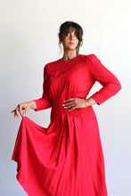 Load image into Gallery viewer, 1980s Red Rayon Soutache Dress