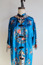 Load image into Gallery viewer, 1950s Blue Silk Rayon Heavily Embroidered Chinese Robe Jacket