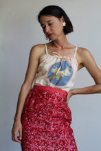 Load image into Gallery viewer, 1960s Red Sequin Stars Silk Maxi Skirt with Side Slits