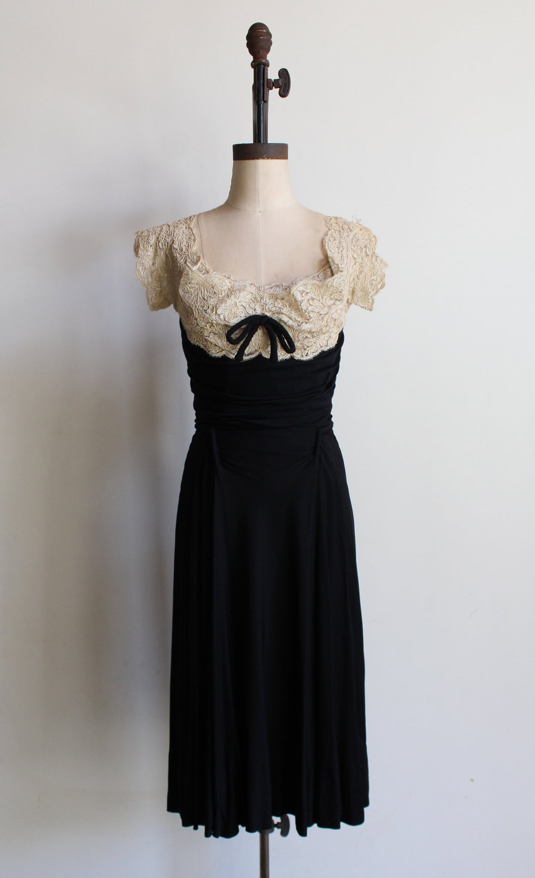1940s Black Jersey White Soutache Lace Dress by Betty Clyne