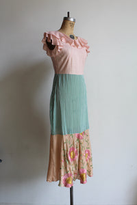 1930s-Style Mixed Fabric Patchwork Scarf Dress by 3 Women