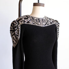 Load image into Gallery viewer, 1980s Black Knit Dress with Sequin Rhinestone Encrusted Yoke + Shoulders by Pat Sandler for Wellmore