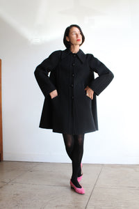 1960s Valentino Black Wool Swing Coat