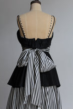 Load image into Gallery viewer, 1970s B+W Striped Taffeta Gown with Peplum Skirt + Sash Belt