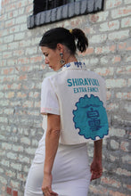 Load image into Gallery viewer, Pink Kokuho Rose + Turquoise Shirayuki Rice Sack Cropped Button-up