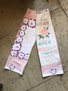 1940s Muted Floral Linen Table Cloth + Botan Rice Pants
