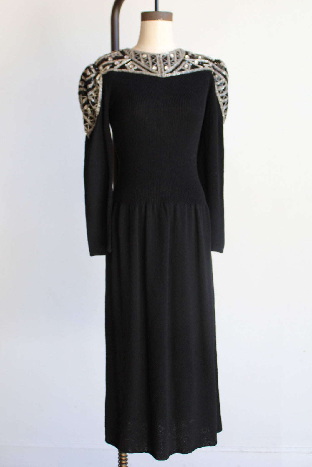 1980s Black Knit Dress with Sequin Rhinestone Encrusted Yoke + Shoulders by Pat Sandler for Wellmore