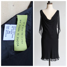 Load image into Gallery viewer, 90s Black Silk Fiori De Zucca Little Black Dress